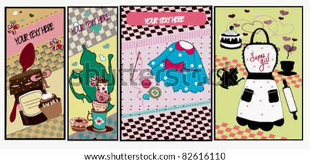 Cute banners with kitchen elements ,for girls.