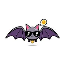 Cute bat cool mascot vector design.