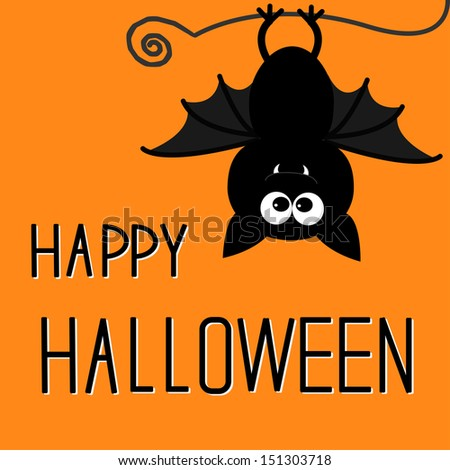 Cute bat. Happy Halloween card. Vector illustration
