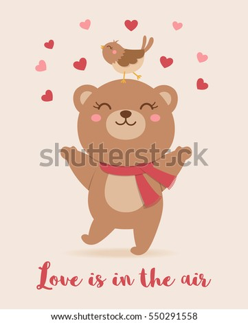 Cute Bear And Bird Illustration With Text Love Is In The Air For