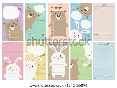 Cute bear and bunny paper note vector illustration cartoon. Set of bear and bunny memo note for print. Memo paper note fit to a4 paper and mini printer.  Stock photo ©
