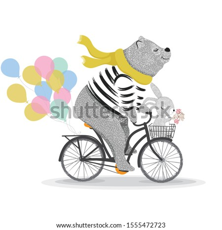 Cute bear and rabbit with bicycle. Circus show illustration. T-shirt graphics. Animals on vintage bikes. Cartoon character for children. Prints, greeting cards, textile artworks.