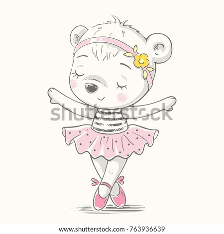 Cute bear ballerina dancing cartoon hand drawn vector illustration. Can be used for t-shirt print, kids wear fashion design, baby shower celebration greeting and invitation card.