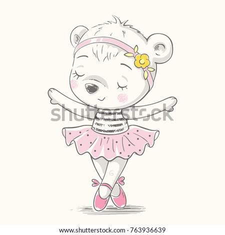 cute bear ballerina dancing