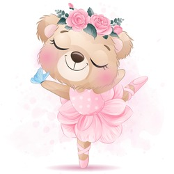 Cute bear ballet dance with watercolor effect