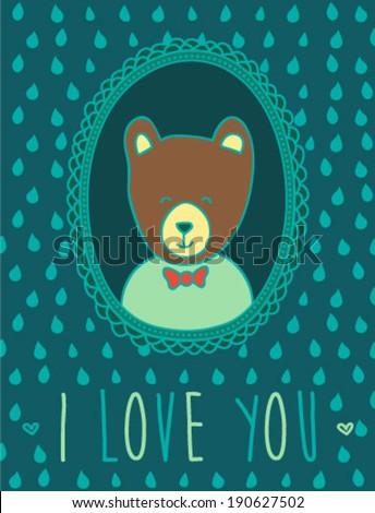 Cute Bear. Bear portrait. Happy Birthday Greeting Card. Happy Valentines Day Greeting card. Vintage greeting card. Animals portrait in frame.