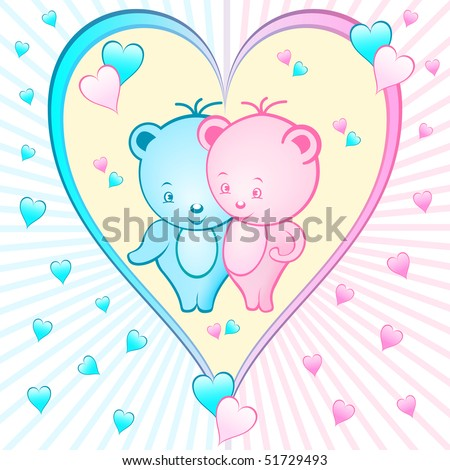 stock vector : Cute bear cartoon characters set inside a large pink and blue