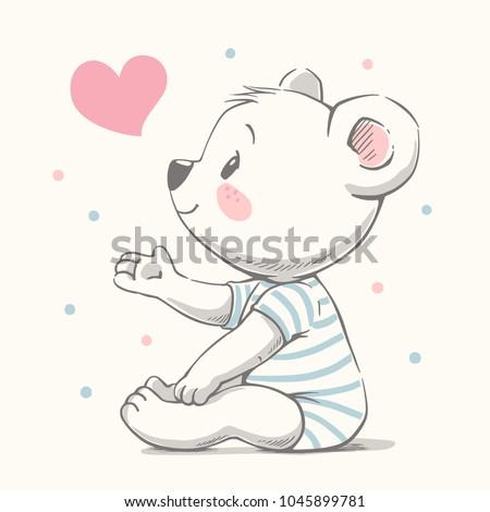 cute bear cartoon hand drawn...