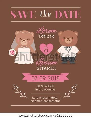cute bear couple illustration for wedding invitation card design