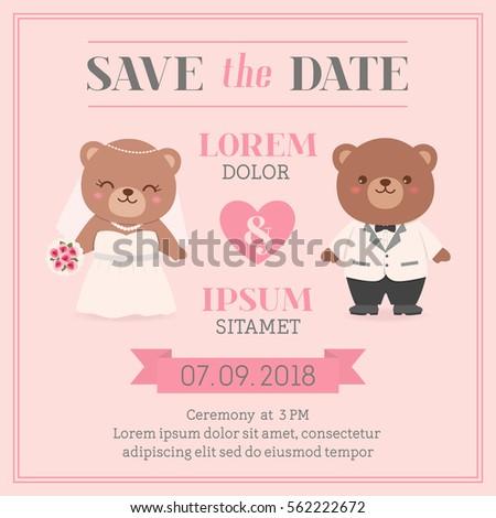 cute bear couple illustration for wedding invitation card design template