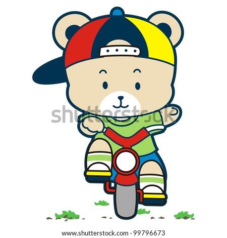 cute bear cycling
