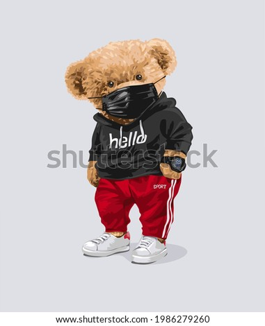 cute bear doll in black face mask and track pant vector illustration Photo stock ©