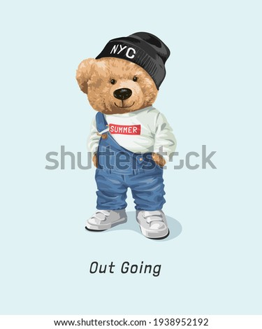 cute bear doll in overall outfit and sweater hat illustration