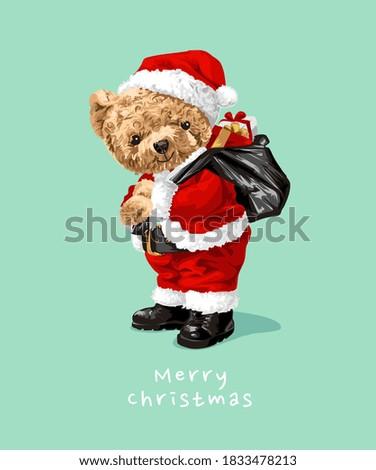 cute bear doll in Santa Claus costume illustration