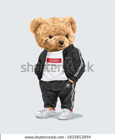cute bear doll in sport fashion track suit illustration