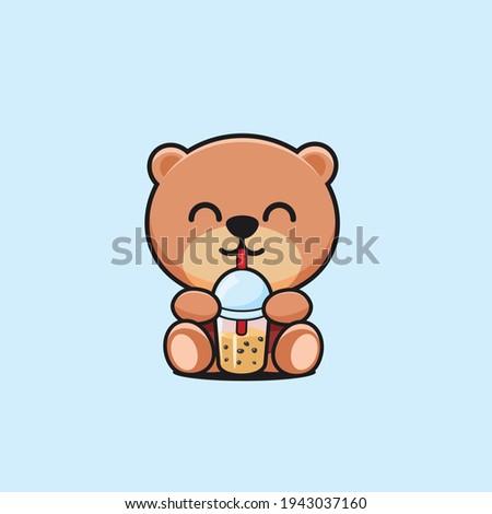 cute bear drinking boba cartoon mascot Foto stock ©