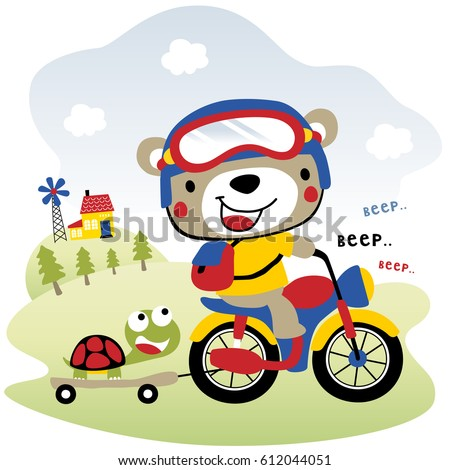 cute bear drive motorcycle