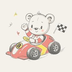 Cute bear driving a car cartoon hand drawn vector illustration. Can be used for t-shirt print, kids wear fashion design, baby shower invitation card.