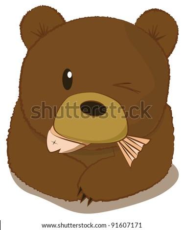 Cute bear eating fish vector - EPS10
