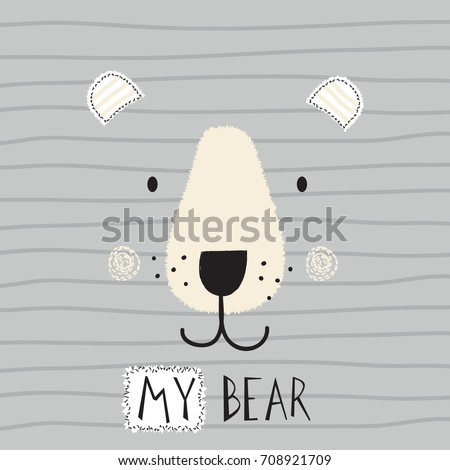 cute bear face on striped background vector illustration