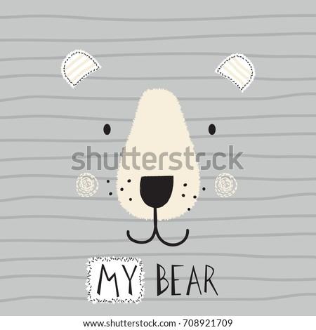 cute bear face on striped