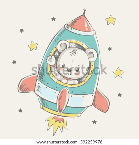 cute bear flying in a rocket
