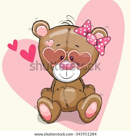 cute bear girl in sunglasses on
