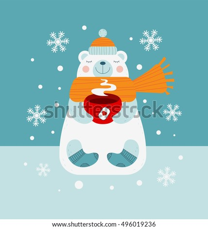 Cute bear holding red cup of hot drink and warming hands in the winter cold weather. Vector wintertime season illustration. Happy white polar bear in warm winter clothes: scarf, hat and woolen socks.