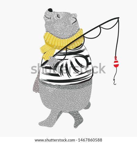 Cute Bear illustration. 'Happy Father's Day' greeting card with fishing time. Cartoon t-shirt graphics for kids. Animal pattern. ストックフォト ©