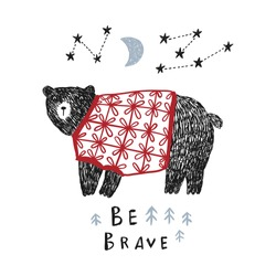 Cute bear in a sweater under the moon and stars. Can be used for shirt design, fashion print design, kids wear, textile design, greeting card, invitation card.