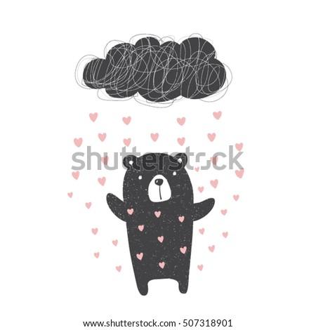 cute bear in heart rain...