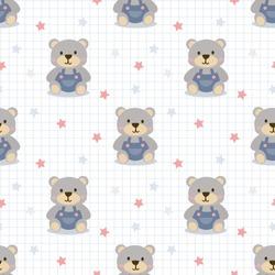 Cute bear in jeans seamless pattern