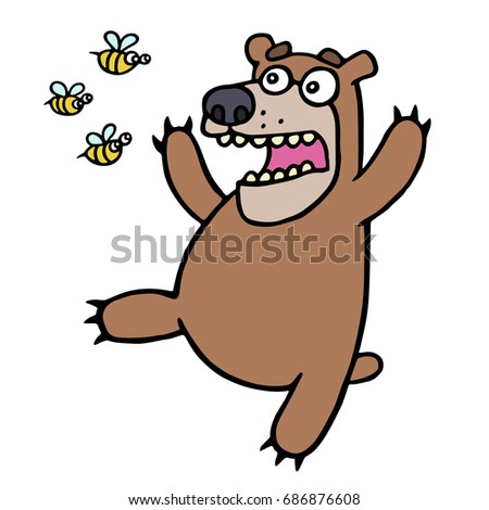 cute bear in panic angry bees