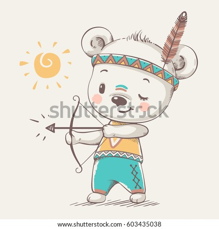 cute bear indian with bow and
