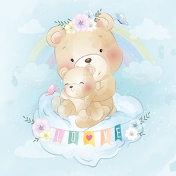 Cute bear mother and baby