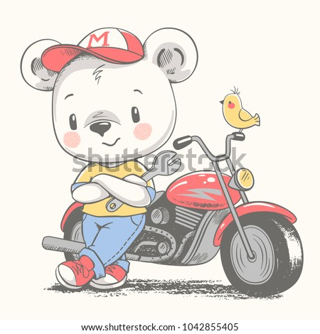 Cute bear near the motorcycle cartoon hand drawn vector illustration. Can be used for t-shirt print, kids wear fashion design, baby shower invitation card.