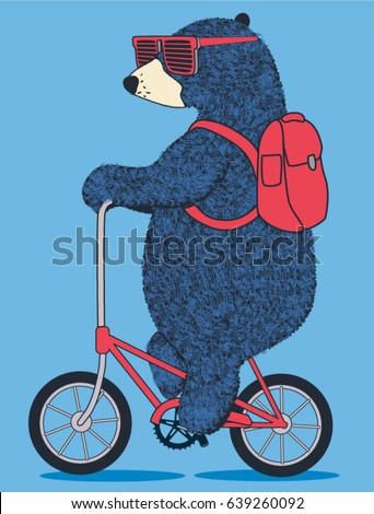 cute bear on bicycle vector t