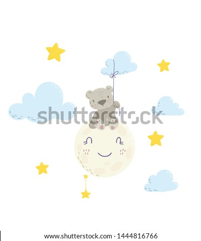 Cute bear on the moon holding a cloud balloon cartoon flat vector illustration for kids. Perfect for t-shirt print, nursery  textile, kids wear fashion design, baby shower invitation card. Foto stock ©