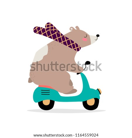 Cute bear on the motorcycle. Vector illustration. Eps 10