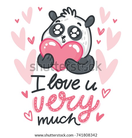 cute panda character holding heart with googly eyes on romantic pink