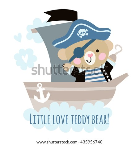 cute bear pirate on a ship at