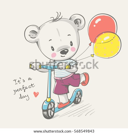 Cute bear riding a scooter cartoon hand drawn vector illustration. Can be used for t-shirt print, kids wear fashion design, baby shower invitation card.
