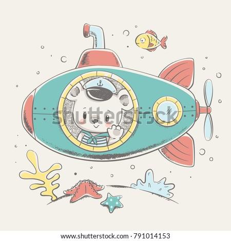 cute bear sailor on a submarine