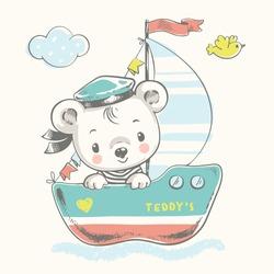 Cute bear sailor on the ship cartoon hand drawn vector illustration. Can be used for t-shirt print, kids wear fashion design, baby shower invitation card.