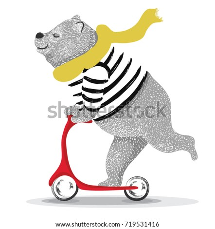 Cute bear scooter vector design.animal illustration.T shirt graphic. - Shutterstock ID 719531416