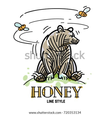 cute bear sitting on honey