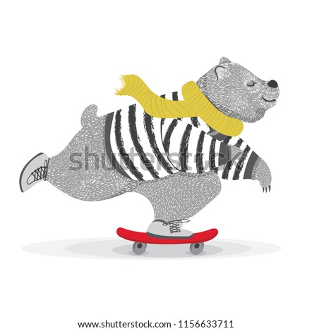 Cute bear skateboard vector design.animal illustration.T shirt graphic.
