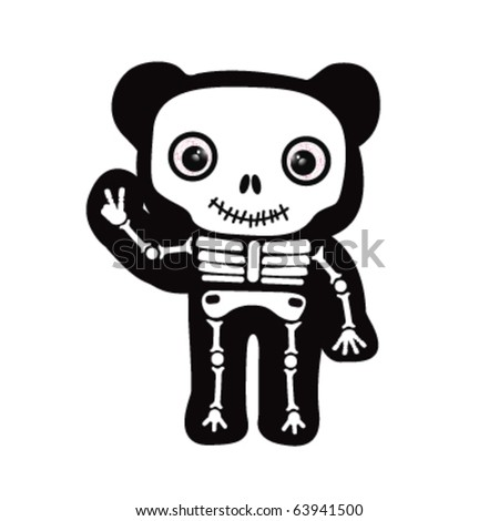 cute bear skeleton giving peace