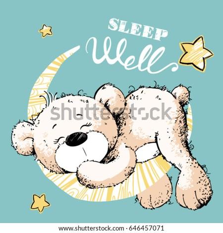 cute bear sleeping on the moon