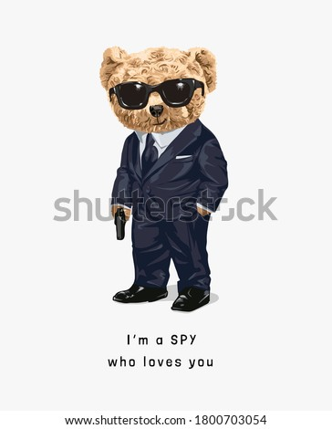 cute bear toy in spy costume